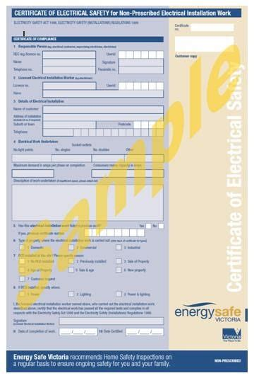 Electrical Safety Certificate Template Process For Certificates Of Electrical Work Cidec Pty Ltd