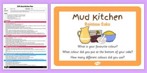 Mud Kitchen Labels Rainbow Cake Eyfs Mud Kitchen Plan And Prompt Card Mud