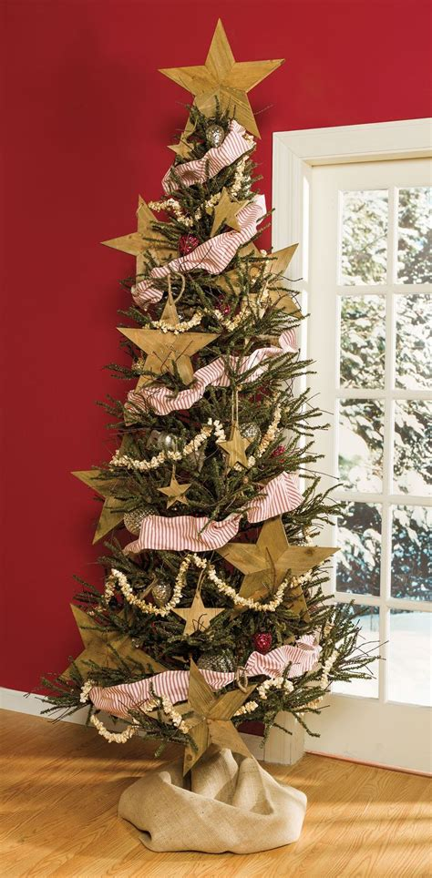 slim twig tree wood stars ticking garland  popcorn