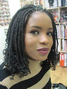 Kinky twist micro braids hairstyles
