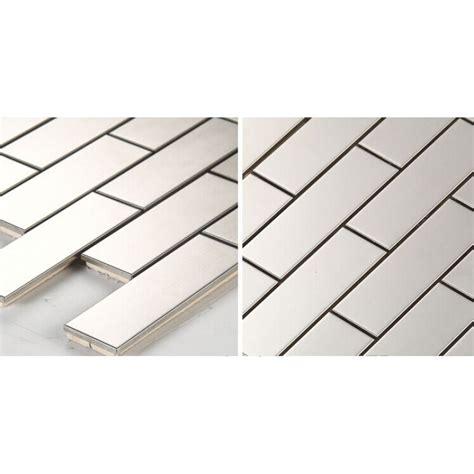 Metallic Mosaic Subway Tile Grey Metal Kitchen Wall Tiles Metal Wall Tiles For Kitchen