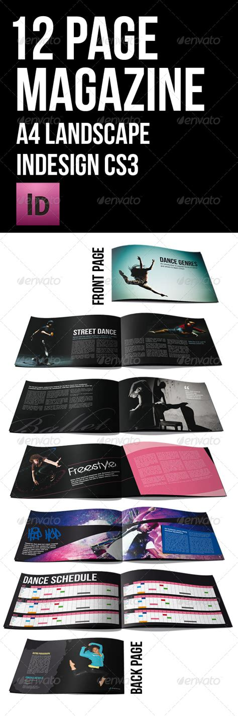 12 page black themed brochure a4 landscape graphicriver