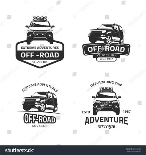 set four offroad suv car black stock vector 421290886