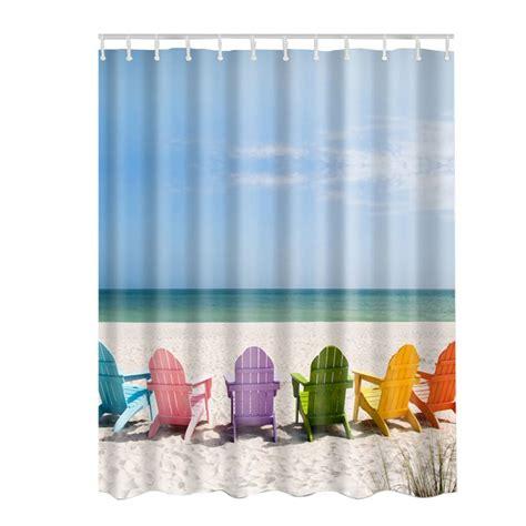print shower curtains fabric waterproof bathroom bath ocean sea beach shells