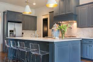 Best Kitchen Cabinets Reviews Kitchen Beautiful Kitchen Features Gray Blue Cabinets Paired With White Quartz Countertops And