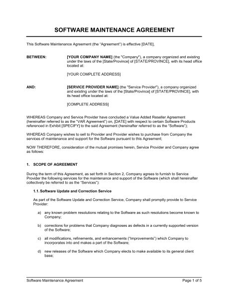software maintenance agreement template software maintenance agreement var template sle