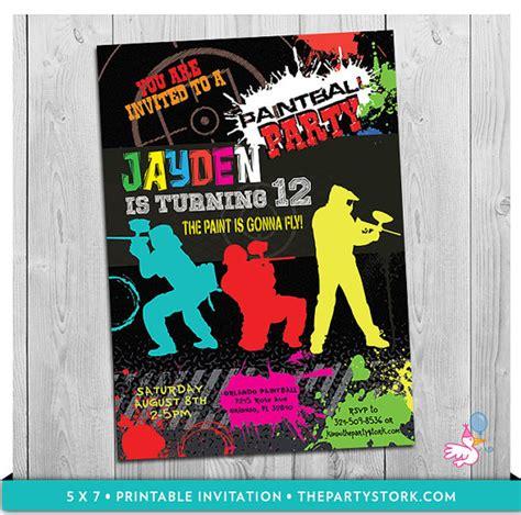 printable birthday invitations paintball paintball party invitation printable boys paint by