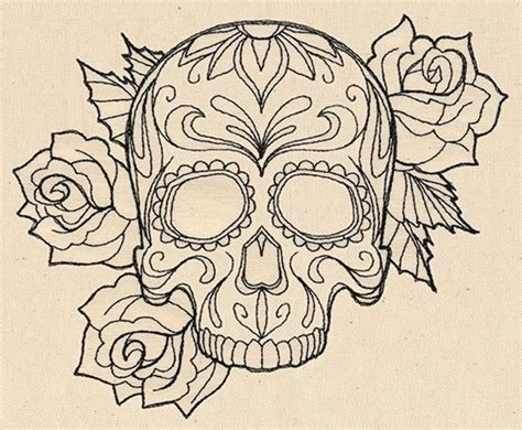 rose stencil tattoo black outline gangster sugar skull with roses