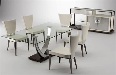 Legs For Dining Room Table Rectangle Glass Top Table With Silver Steel Legs And Black Base Combined With White Leather