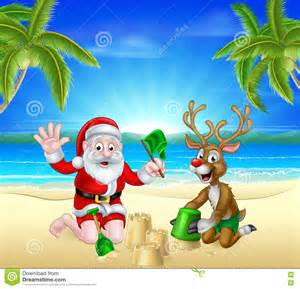christmas santa and reindeer on summer beach stock vector