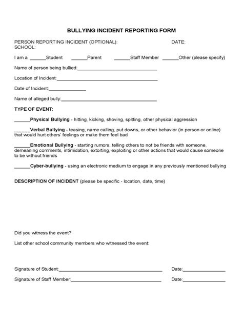 Bullying Report Form Template