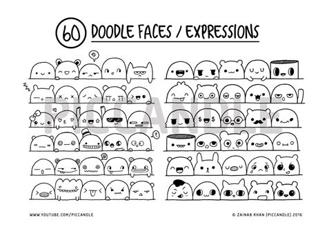 doodle expression 60 doodle faces expressions printable practice sheets