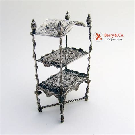 etagere 2 stöckig silber german 800 silver miniature etagere 1900 berry company