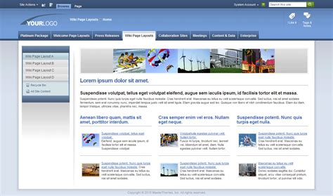 sharepoint page layout templates image gallery sharepoint 2010 themes