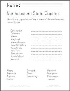 Northeast states and capitals worksheets map reading skills worksheets