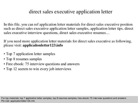 direct sales executive application letter