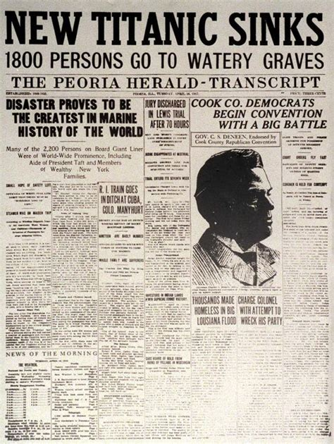 Titanic Sinks Newspaper by Titanic Newspaper Article The Peoria Herald Transcript
