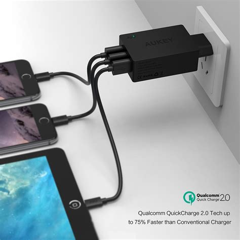 Aukey 36w Travel Size Fast Rapid Usb Wall Charger Dual Port Eu P aukey charger usb 3 port eu 42w with qc 2 0 aipower pa t2 black jakartanotebook