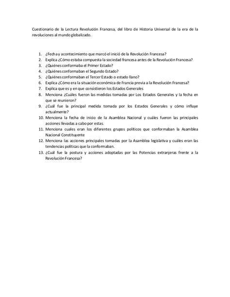 preguntas revolucion francesa cuestionario de la lectura revoluci 243 n francesa