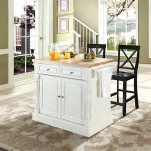 Furniture butcher block top kitchen island with 24 quot x back stools