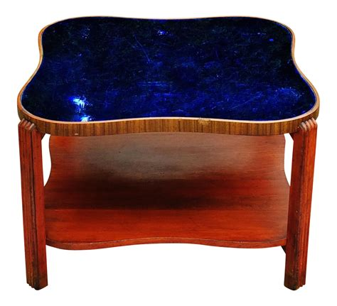 deco blue glass coffee table deco cobalt blue glass mirror coffee table chairish
