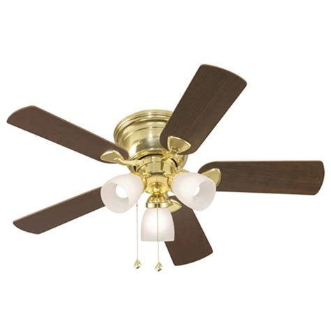 ceiling fans with lights at lowes shop harbor centreville 42 in polished brass flush mount ceiling fan with light kit at