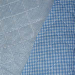 blue gingham check quilted fabric single sided 15 inches x 40