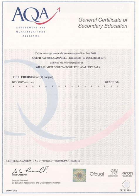 gcse certificate template gcse biology summer 2009