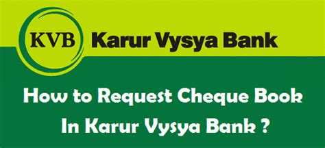 karur vysya bank atm how to request cheque book in karur vysya bank