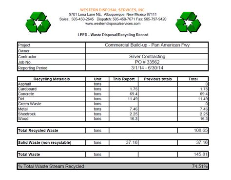 waste management report template leed tracking spreadsheets western disposal services inc