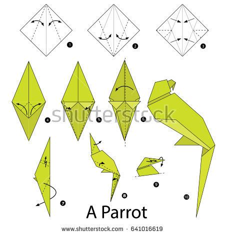 origami parot step by step how make stock vector 641016619
