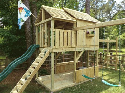Backyard Playhouse Designs Backyard Playground Hand Crafted Wooden Playsets Amp Swing