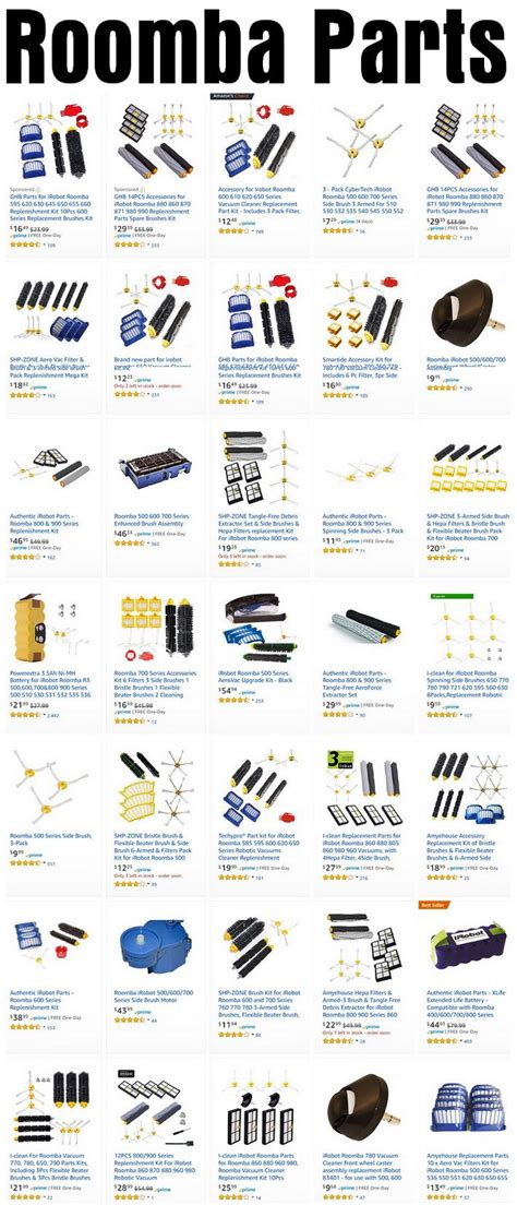 roomba parts diagram roomba vacuum parts and accessories with error code charts