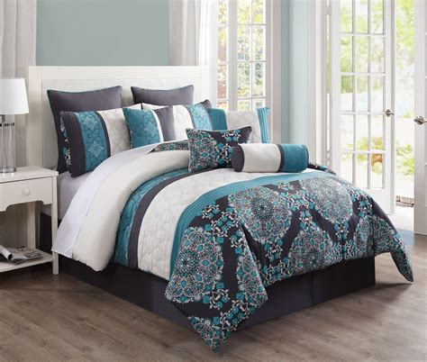 teal bedding set 10 piece queen justine charcoal and teal reversible