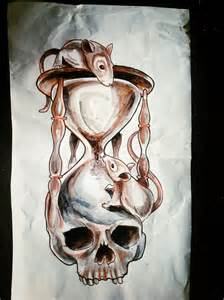 Skull hourglass with rats tattoo design