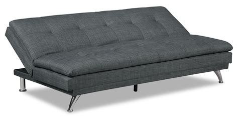 Charcoal Futon by June Linen Look Fabric Futon Charcoal The Brick