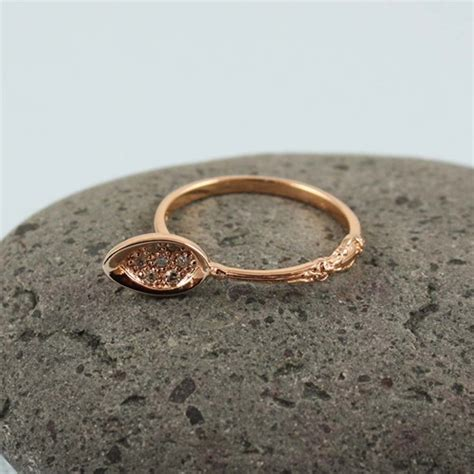 handmade pink gold spoon ring