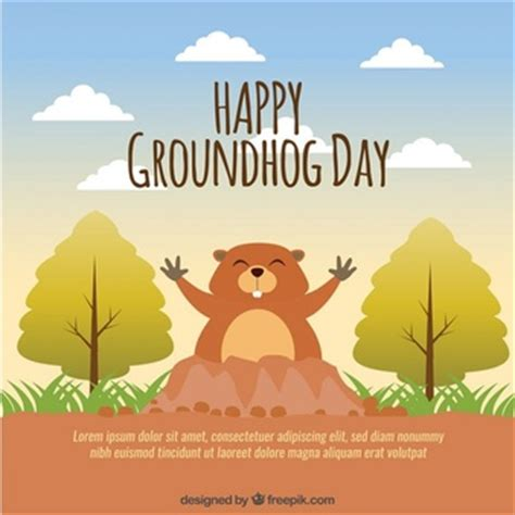 groundhog day and happy day groundhog with glasses illustration vector free