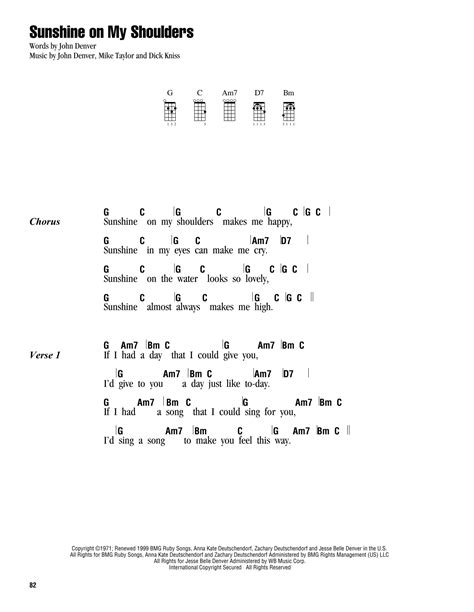 strumming pattern you are my sunshine ukulele sunshine on my shoulders sheet music by john denver