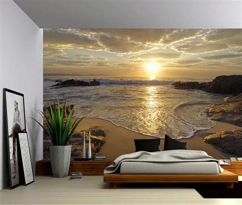 beach murals for bedrooms beach themed wallpaper for bedroom lustwithalaugh design