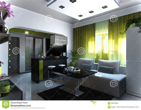 interior design concept rendering 3d open concept living room and kitchen 3 3d rendering