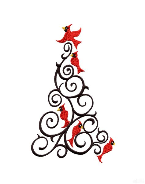 christmas designs cardinal christmas tree embroidery design