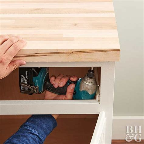 attach wood countertop to cabinet diy butcher block kitchen countertops