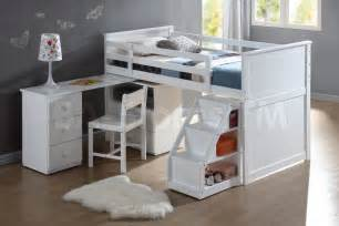Wyatt white loft bed unit with desk and chair bunk beds af 19405 412