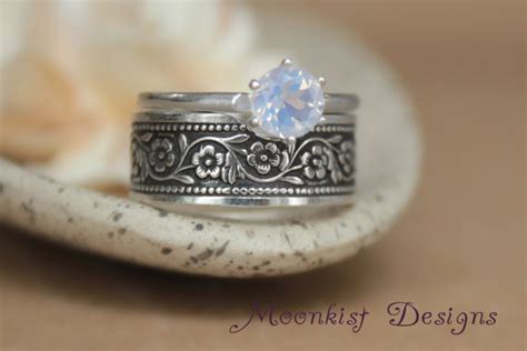 chain band and solitaire engagement ring in sterling