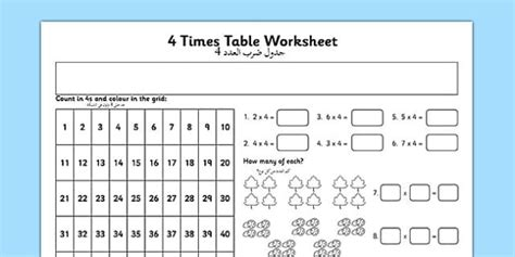 4 times table worksheet 4 times table worksheet translation times