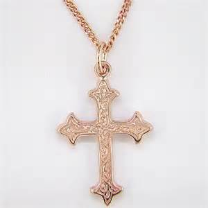 Gold crosses and crucifixes 9 carat rose gold cross and chain
