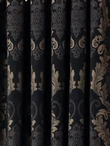 Black And Gold Curtains Damask Black Gold Heavy Luxury Designer Eyelet Curtain