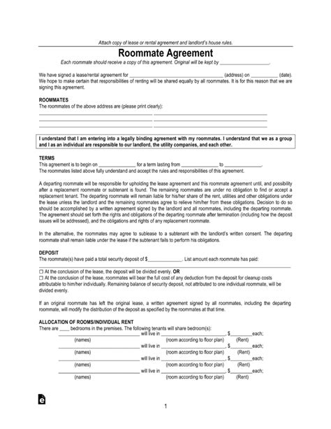 Free Virginia Roommate Agreement Room Rental Form Pdf Eforms Free Fillable Forms Virginia Lease Template