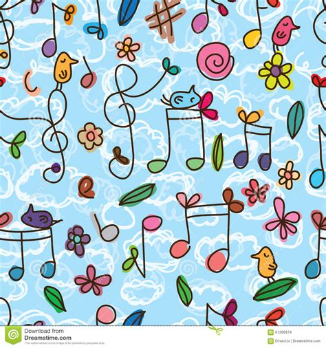 cute music pattern music note cute bird seamless pattern stock vector